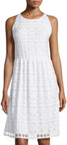 Max Studio Sleeveless Floral Lace Dress, Off White