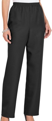 Alfred Dunner Women's All Around Elastic Waist Polyester Petite Pants Poly Proportioned Medium - Black - 18 Petite