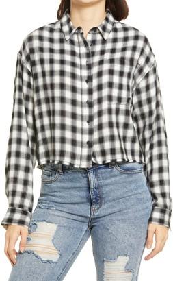 BP Plaid Crop Button-Up Shirt