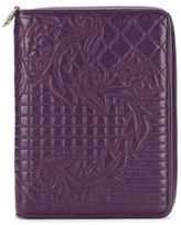 Versace Quilted Embroidery Leather Zip-Around Wallet