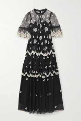 Needle & Thread Amber Petal Tiered Embroidered Swiss-dot Tulle Gown - Black