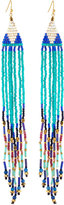 Nakamol Long Beaded Fringe Drop Earrings, Teal