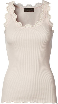 Rosemunde Soft Rose Iconic Silk Top with Lace - xl