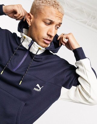 Puma x Central Saint Martins logo half-zip hoodie in navy