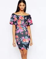 Club L Essentials Bardot Frill Mini Dress in Bright Floral