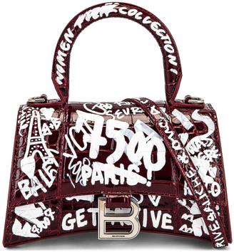 Balenciaga XS Hourglass Top Handle Bag in Dark Red & White | FWRD