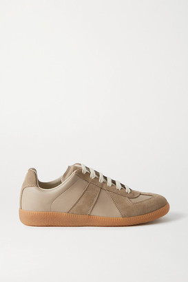 Maison Margiela Replica Leather And Suede Sneakers - Taupe