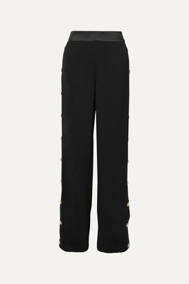 Balmain Button-embellished Crepe Wide-leg Track Pants - Black