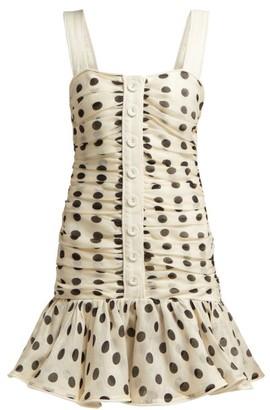 Zimmermann Corsage Ruched Linen-blend Mini Dress - Black White