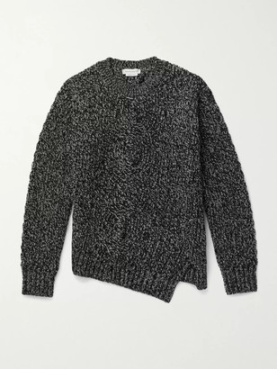 Alexander McQueen Cable-Knit Melange Wool And Cashmere-Blend Sweater