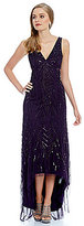 Adrianna Papell V-Neck Hi Low Beaded Gown