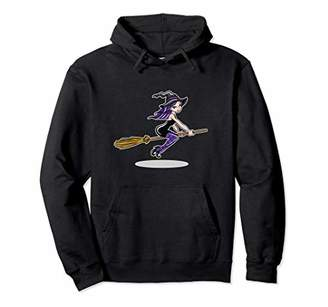 b-ROOM Witch Riding Her Broom Lovers Halloween Gift Pullover Hoodie