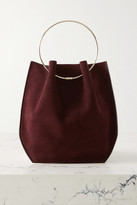 The Row Flat Circle Suede Tote - Burgundy