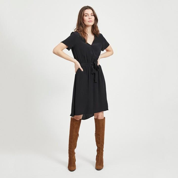 Vila Knee-Length Wrapover Dress with Short Sleeves