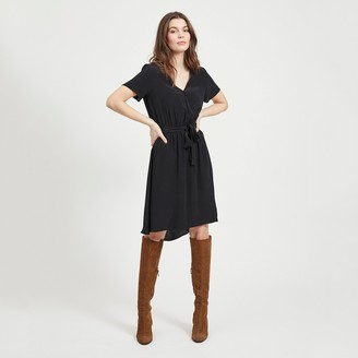 Vila Knee-Length Wrapover Dress with Short Sleeves