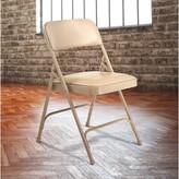 Humbert 1200 Series Vinyl Padded Folding Chair (Set of 4) Symple Stuff Color: Beige/Beige Frame