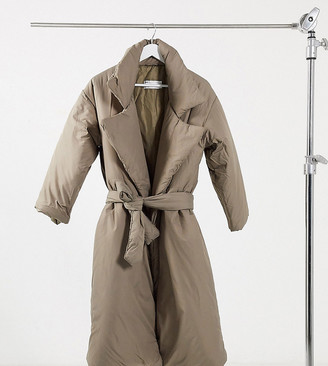 ASOS DESIGN Petite puffer maxi coat with belt in hazelnut
