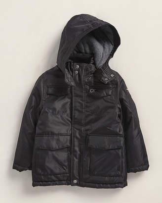 Calvin Klein Jeans Boys 4-7) Black Military Hooded Coat