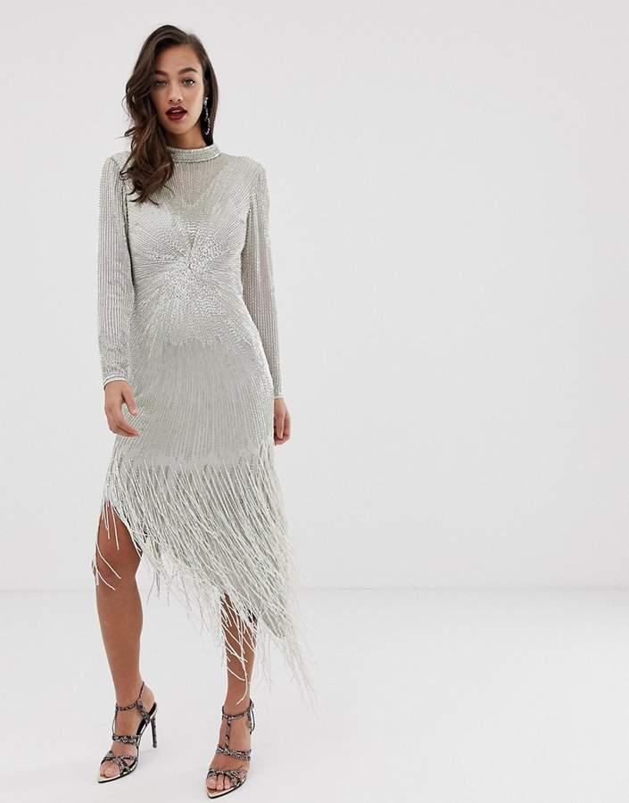 Asos Edition EDITION starburst midi dress with fringe