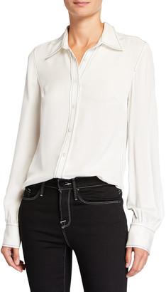 Frame 70s Contrast-Stitch Silk Button-Down Shirt