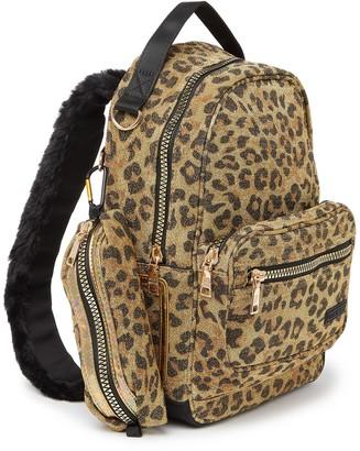 Steve Madden Becky Faux Fur Trim Leopard Print Backpack