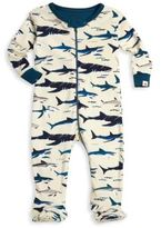 Hatley Baby's Shark Printed Organic Cotton Footie