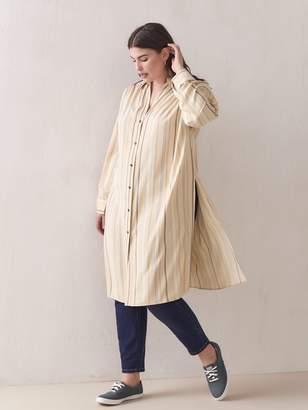 Striped Button-Down Tunic Blouse - Addition Elle