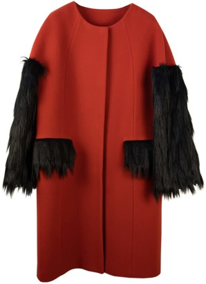 N'onat Red Swan Faux-Fur Coat