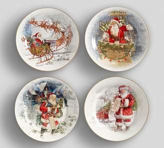 Pottery Barn Nostalgic Santa Dinner Plates, Set Of 4 - Assorted