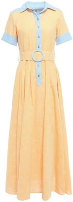 Gül Hürgel Belted Striped Cotton And Linen-blend Maxi Shirt Dress