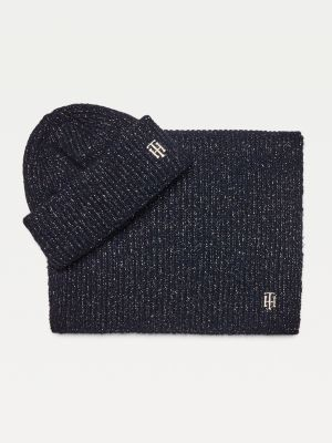 Tommy Hilfiger Sparkle Knit Monogram Beanie And Scarf