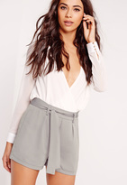 Missguided Tie Waist Crepe Tailored Shorts Grey