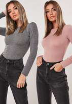 Missguided Gray And Nude 2 Pack Crew Neck Bodysuits