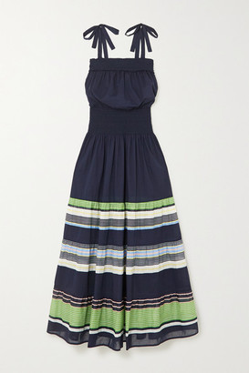 Tory Burch Tie-detailed Smocked Striped Cotton-voile Dress - Navy