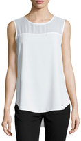 Vince Camuto Sleeveless Chiffon-Panel Top, New Ivory