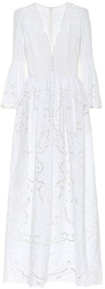 Costarellos Rusie lace-trimmed silk-blend gown