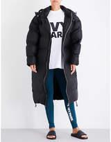 Ivy Park Ladies Black Exposed Zip Longline Bonded Shell Puffer Coat