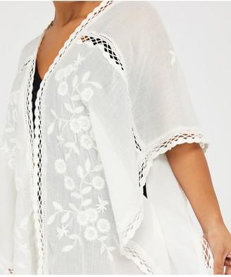 Accessorize Sleeved Lace Long Kimono - Cream