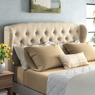 Three Posts Leatham Upholstered Wingback Headboard Size: King, Upholstery: Beige
