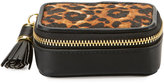 Neiman Marcus Small Leopard Faux-Leather Pill Case, Natural/Black