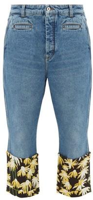 Loewe Fisherman Floral-print Turn-up Cuff Jeans - Blue