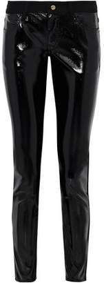 Just Cavalli Paneled Coated Stretch-cady Skinny Pants