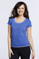 Classic Women's Regular Short Sleeved Tipped Sweater-Blue/Bright Meadow Stripe
