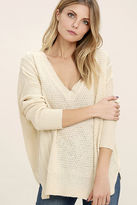 Lush This Town Light Beige Sweater