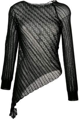 Yohji Yamamoto slant lace knitted top