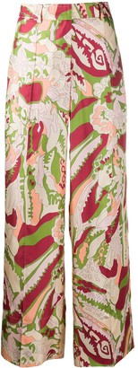 Victoria Beckham Abstract Print Palazzo Trousers