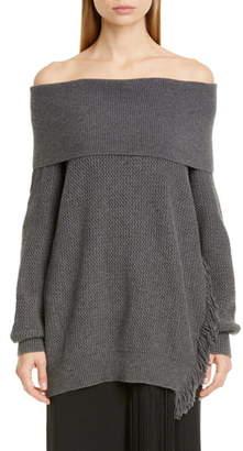 Stella McCartney Fringe Trim Off the Shoulder Wool Sweater