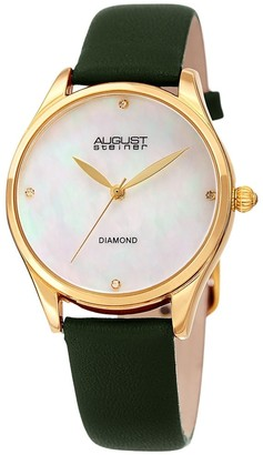 August Steiner Ladies Classic Diamond Green Leather Strap Watch