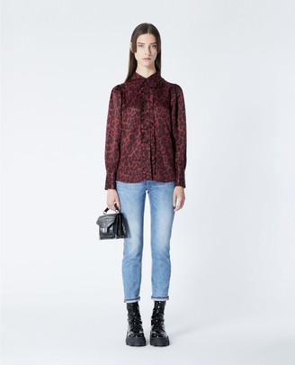 The Kooples Burgundy shirt with leopard motif