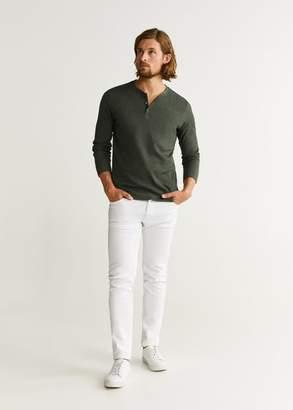 MANGO Structured henley collar t-shirt